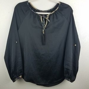 3/$20 DANA BUCHMAN Black Long Sleeve Blouse